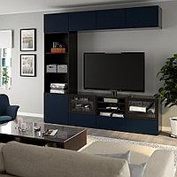БЕСТО Шкаф для ТВ, комбин/стеклян дверцы, черно-коричневый, Нотвикен синий прозрачное стекло, 240x42x230 см, фото 1