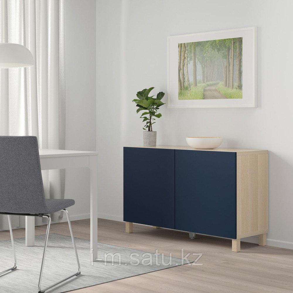 БЕСТО Комбинация для хранения с дверцами, под беленый дуб, нотвикен/стуббарп синий, 120x42x74 см