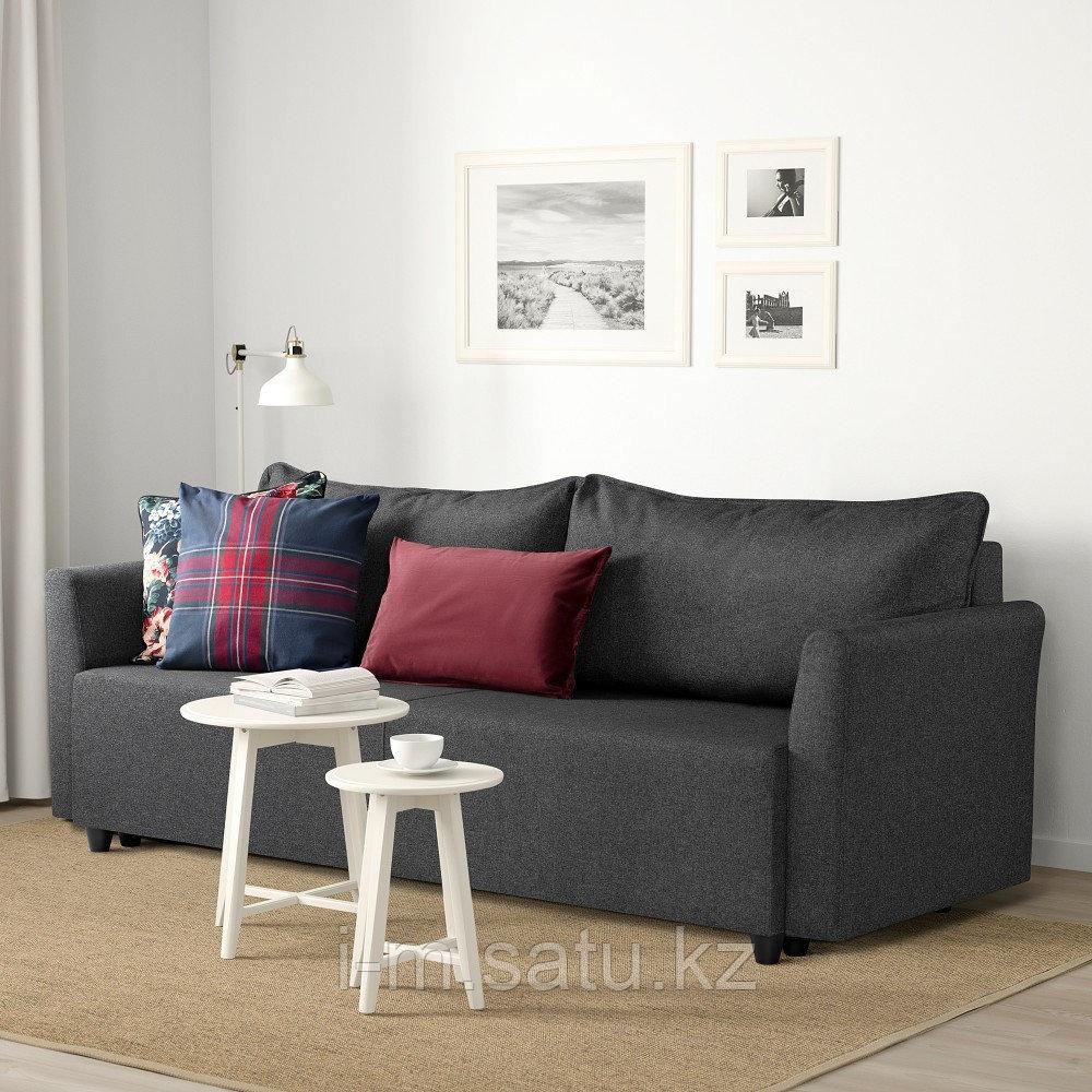 БРИССУНД 3-местный диван-кровать, Рудорна темно-серый