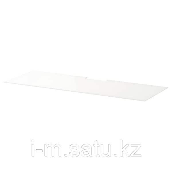 БЕСТО Верхняя панель д/ТВ, стекло белый, 120x40 см