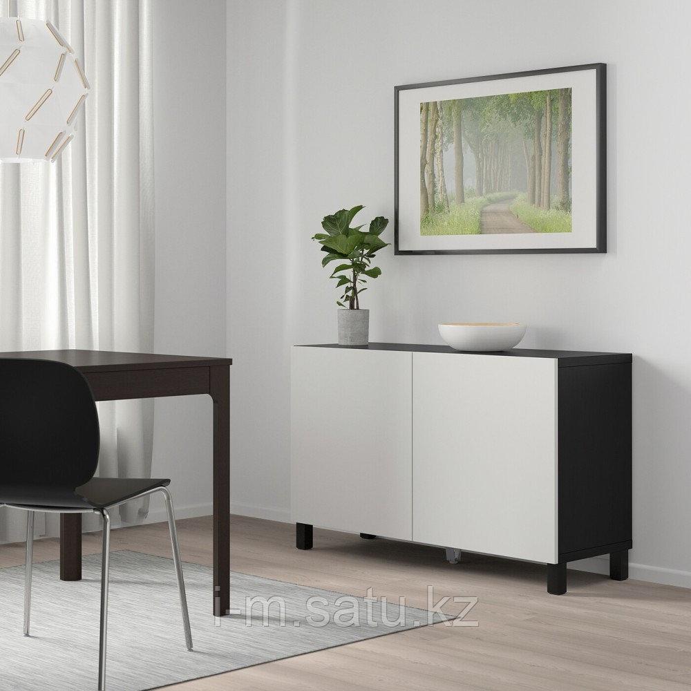 БЕСТО Комбинация для хранения с дверцами, черно-коричневый, Лаппвикен светло-серый, 120x40x74 см