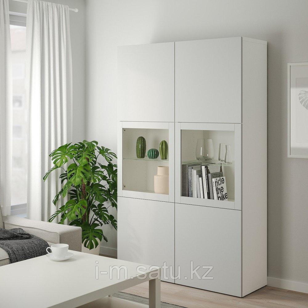 БЕСТО Комбинация д/хранения+стекл дверц, белый, Лаппвикен светло-серый прозрачное стекло, 120x40x192 см