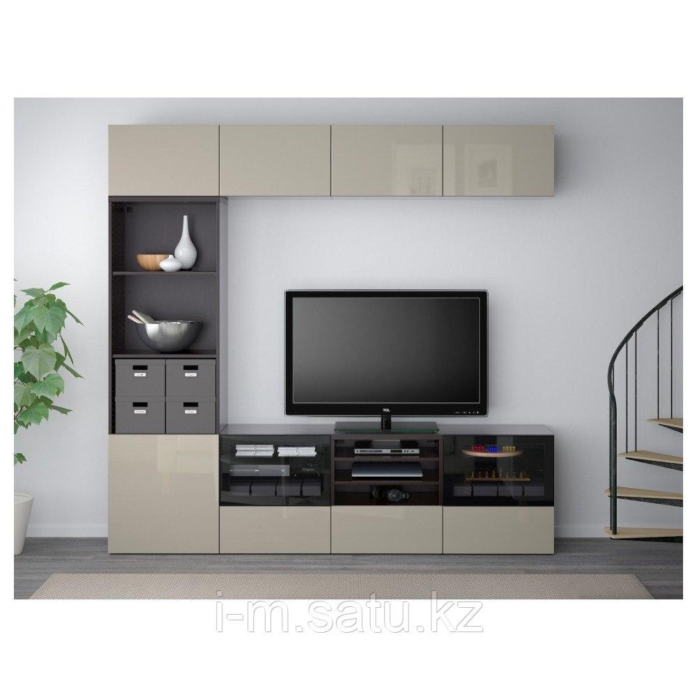 БЕСТО Шкаф для ТВ, комбин/стеклян дверцы, черно-коричневый, прозрачное стекло, 240x40x230 см