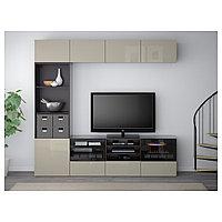 БЕСТО Шкаф для ТВ, комбин/стеклян дверцы, черно-коричневый, прозрачное стекло, 240x40x230 см, фото 1