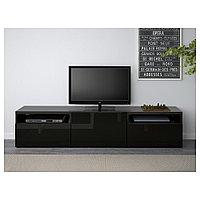 БЕСТО Тумба под ТВ, черно-коричневый, Сельсвикен глянцевый/черный, 180x40x38 см, фото 1