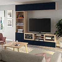 БЕСТО Шкаф для ТВ, комбин/стеклян дверцы, под беленый дуб, Нотвикен синий прозрачное стекло, 240x42x230 см, фото 1