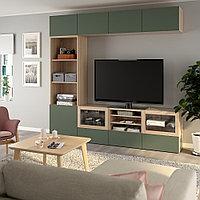 БЕСТО Шкаф для ТВ, комбин/стеклян дверцы, под беленый дуб, , 240x42x230 см, фото 1