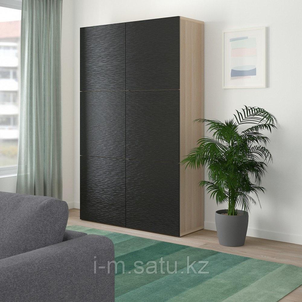 БЕСТО Комбинация для хранения с дверцами, под беленый дуб, Лаксвикен черный, 120x40x192 см