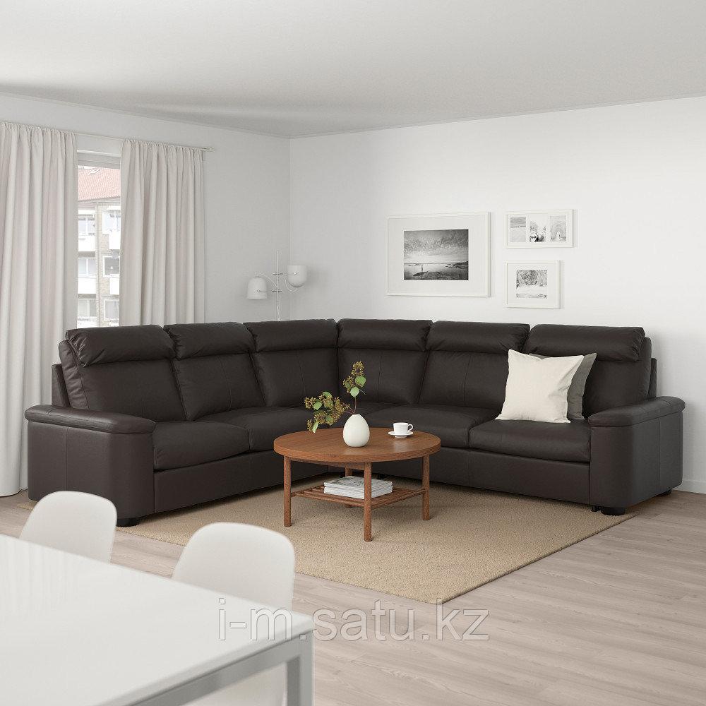 ЛИДГУЛЬТ Угловой диван-кровать, 5-местный, Гранн/Бумстад темно-коричневый, Гранн/Бумстад темно-коричневый