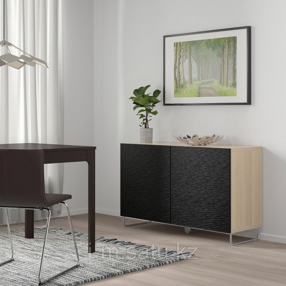 БЕСТО Комбинация для хранения с дверцами, под беленый дуб, лаксвикен/суларп черный, 120x40x74 см