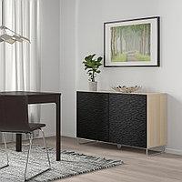 БЕСТО Комбинация для хранения с дверцами, под беленый дуб, лаксвикен/суларп черный, 120x40x74 см, фото 1