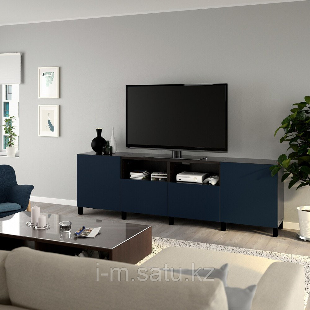 БЕСТО Тумба под ТВ, с дверцами и ящиками, черно-коричневый, нотвикен/стуббарп синий, 240x42x74 см