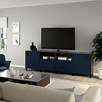 БЕСТО Тумба под ТВ, с дверцами и ящиками, черно-коричневый, нотвикен/стуббарп синий, 240x42x74 см, фото 1