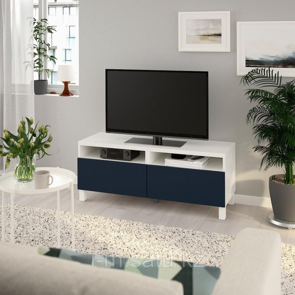 БЕСТО Тумба д/ТВ с ящиками, белый, нотвикен/стуббарп синий, 120x42x48 см