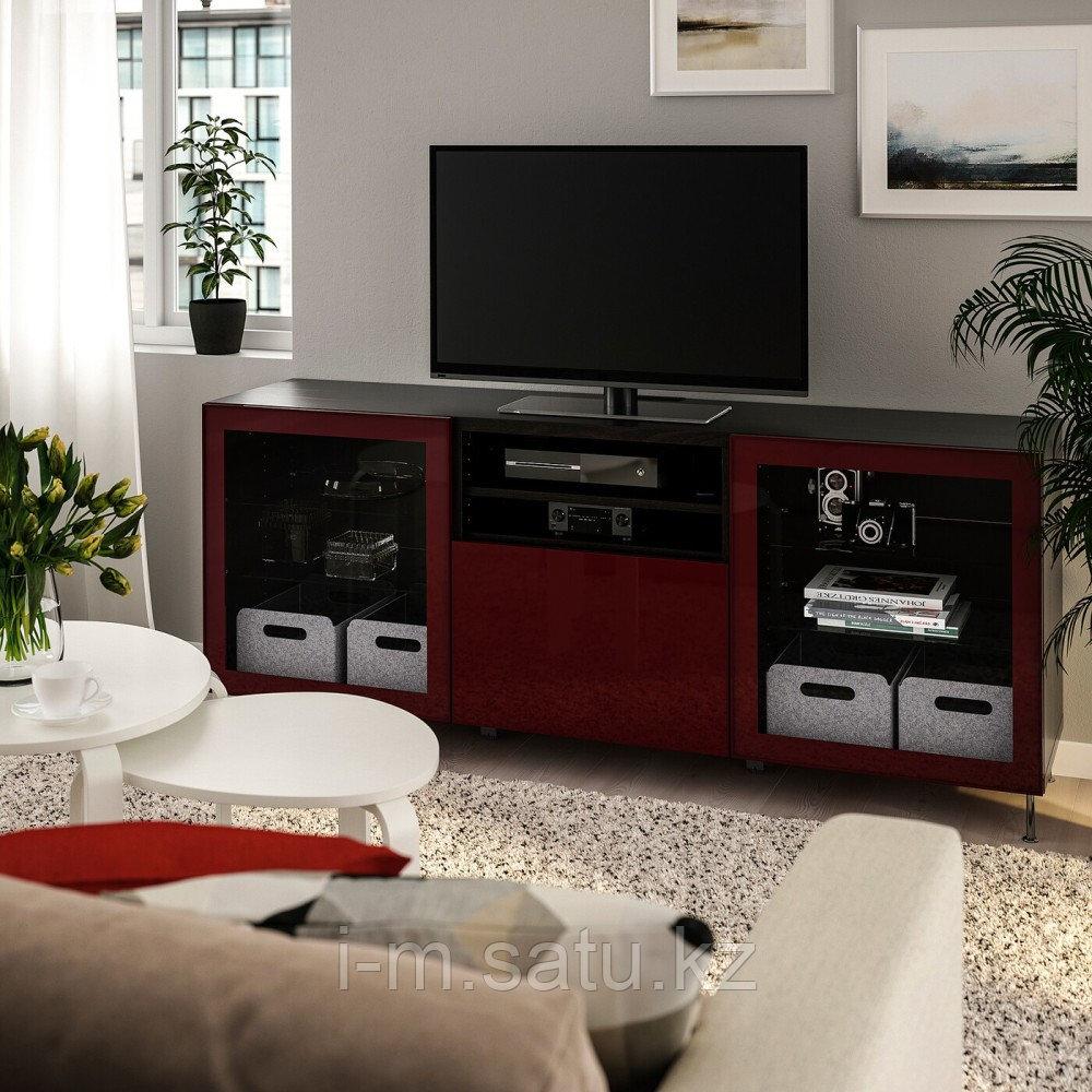 БЕСТО Тумба д/ТВ с ящиками, черно-коричневый СЕЛЬСВ/СТАЛЛАРП, глянцевый темный красно-коричневый, 180x42x74 см