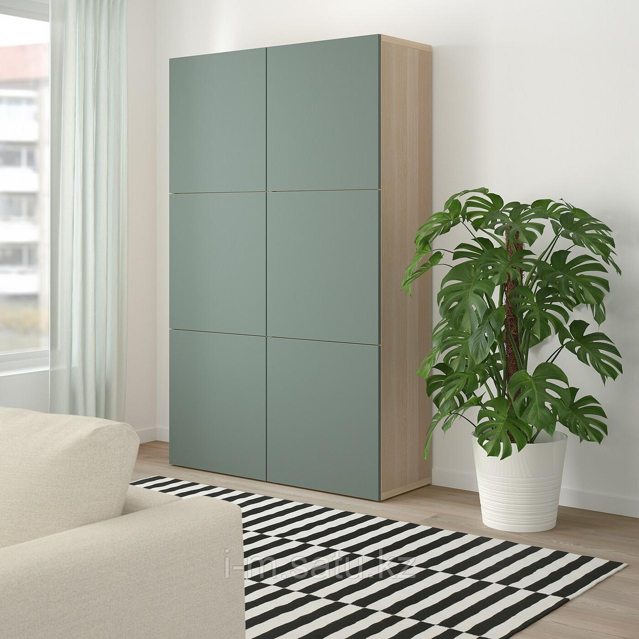 БЕСТО Комбинация для хранения с дверцами, под беленый дуб, Нотвикен серо-зеленый, 120x42x192 см