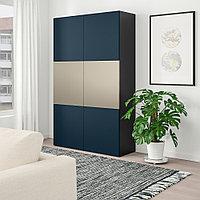 БЕСТО Комбинация для хранения с дверцами, черно-коричневый риксвикен, Нотвикен синий, 120x42x192 см, фото 1