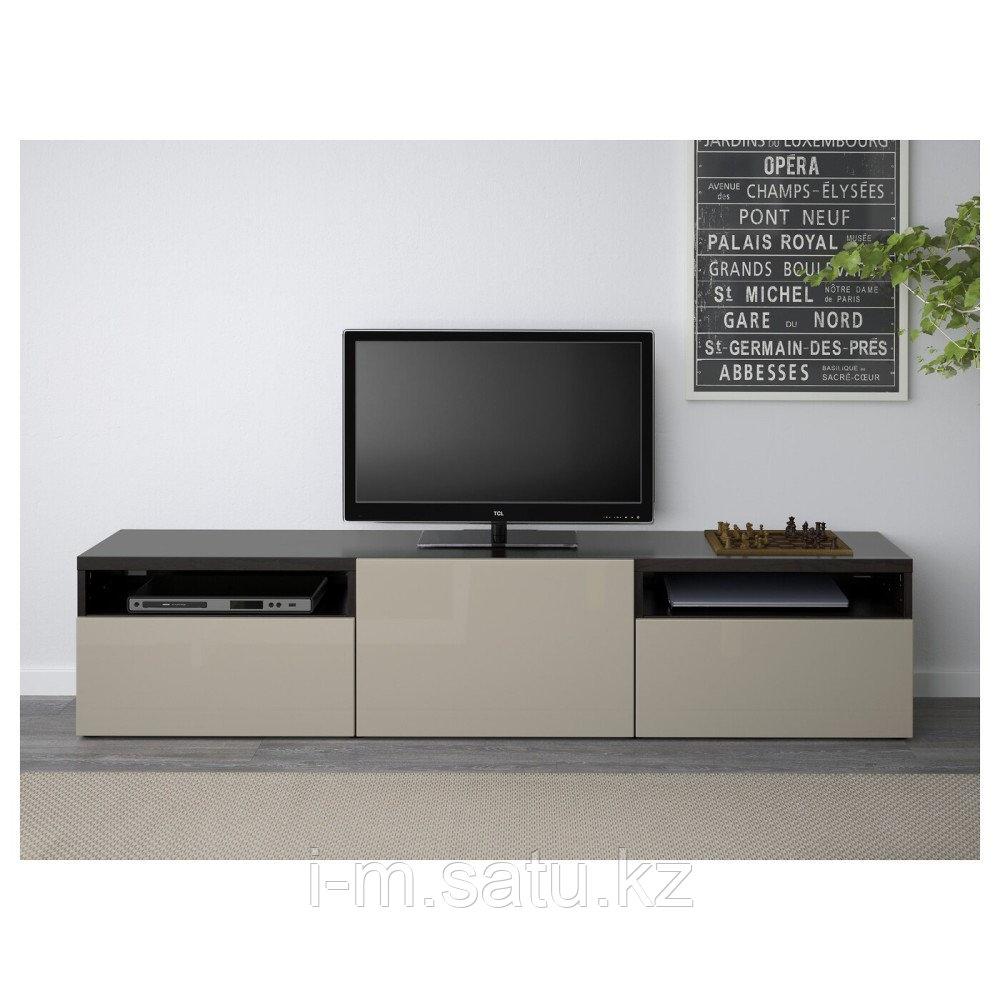 БЕСТО Тумба под ТВ, черно-коричневый, Сельсвикен глянцевый/бежевый, 180x40x38 см