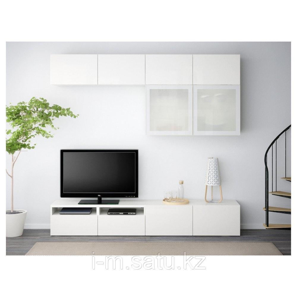 БЕСТО Шкаф для ТВ, комбин/стеклян дверцы, белый, Сельсвикен глянцевый/белый матовое стекло, 240x40x230 см