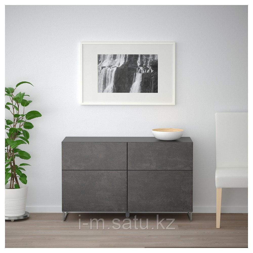 БЕСТО Комб для хран с дверц/ящ, черно-коричневый КЭЛЛЬВИКЕН/СУЛАРП, темно-серый под бетон, 120x40x74 см