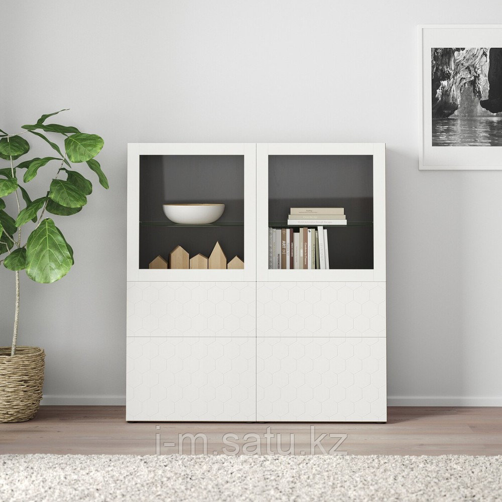 БЕСТО Комбинация д/хранения+стекл дверц, черно-коричневый, вассвикен белый прозрачное стекло, 120x40x128 см