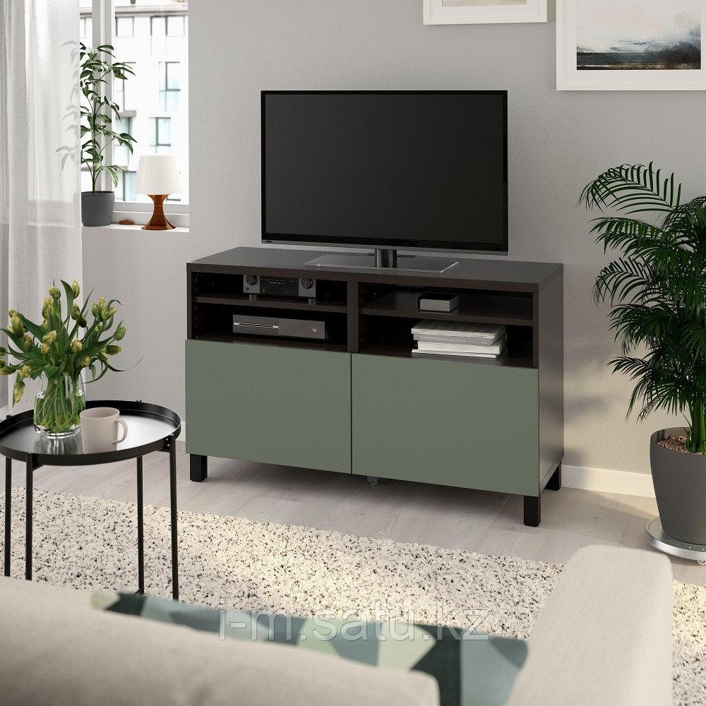 БЕСТО Тумба под ТВ, с дверцами, черно-коричневый, нотвикен/стуббарп серо-зеленый, 120x42x74 см