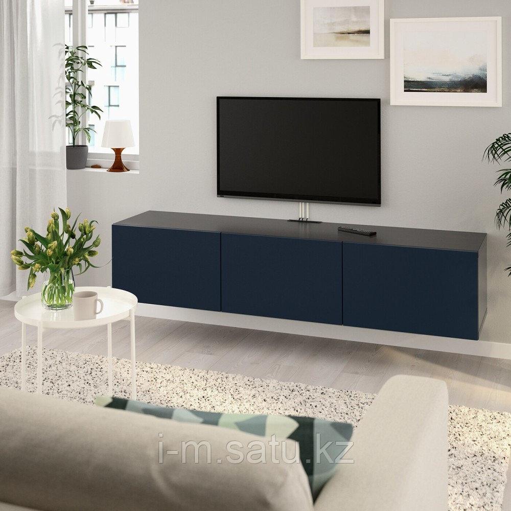 БЕСТО Тумба под ТВ, с дверцами, черно-коричневый, Нотвикен синий, 180x42x38 см