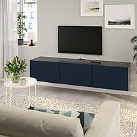 БЕСТО Тумба под ТВ, с дверцами, черно-коричневый, Нотвикен синий, 180x42x38 см, фото 1