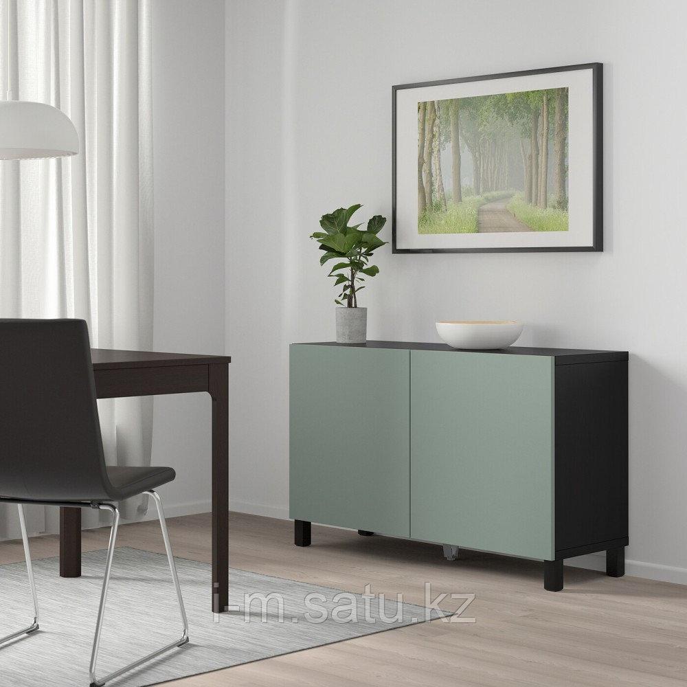 БЕСТО Комбинация для хранения с дверцами, черно-коричневый, нотвикен/стуббарп серо-зеленый, 120x42x74 см