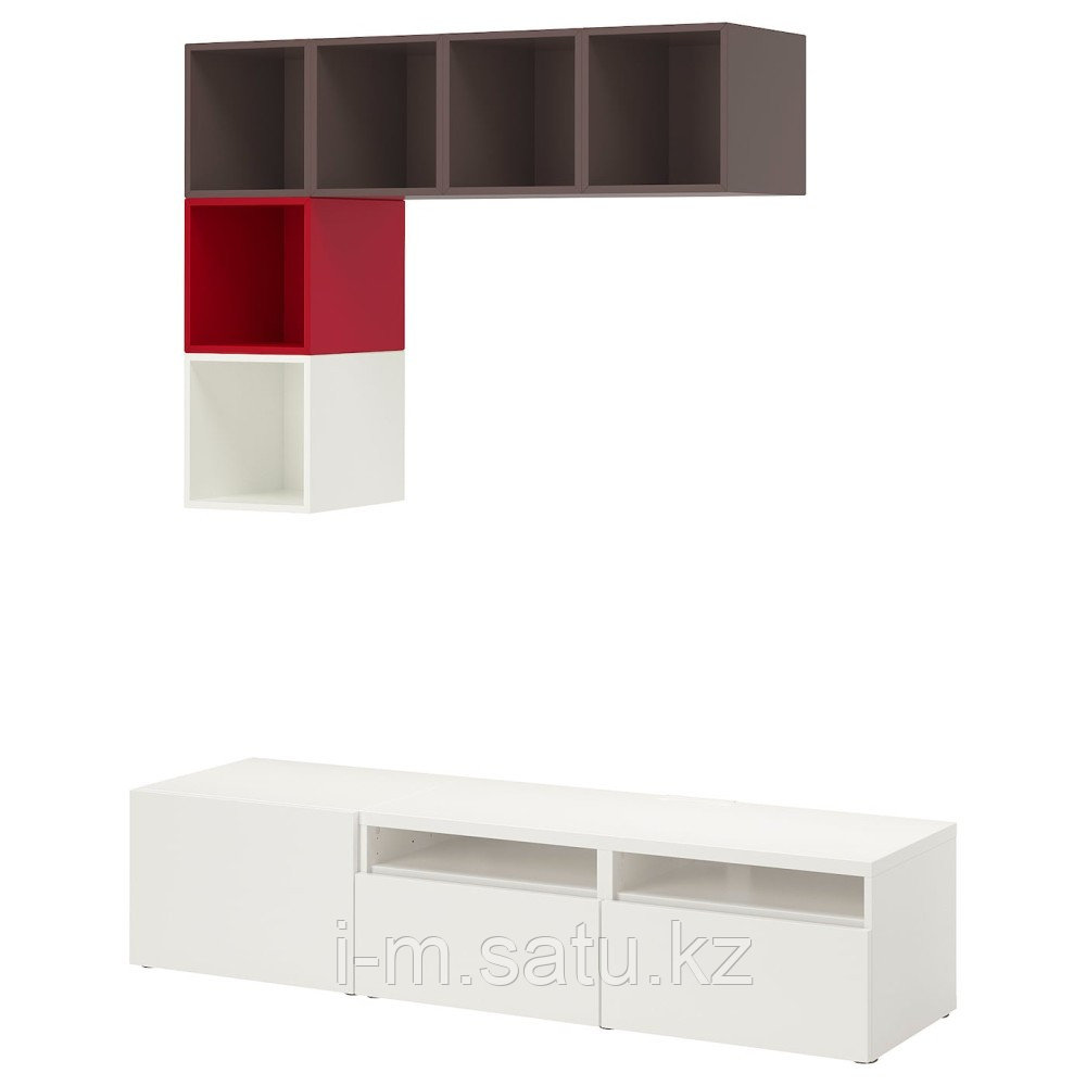 БЕСТО / ЭКЕТ Комбинация для ТВ, белый/темно-серый, красный, 180x42x170 см