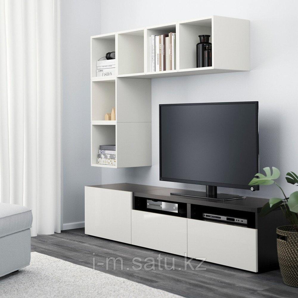 БЕСТО / ЭКЕТ Комбинация для ТВ, белый/черно-коричневый, глянцевый/белый, 180x40x170 см
