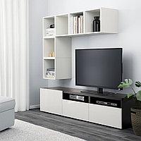 БЕСТО / ЭКЕТ Комбинация для ТВ, белый/черно-коричневый, глянцевый/белый, 180x40x170 см, фото 1