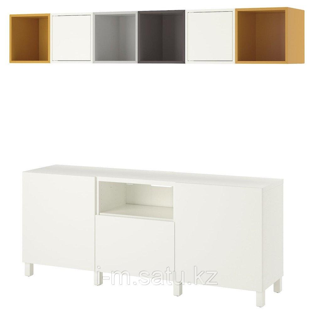 БЕСТО / ЭКЕТ Комбинация для ТВ, белый светло-серый/темно-серый, золотисто-коричневый, 210x40x220 см