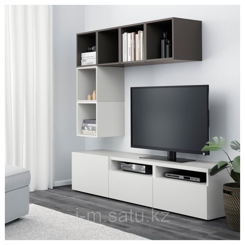 БЕСТО / ЭКЕТ Комбинация для ТВ, белый/светло-серый, темно-серый, 180x40x170 см