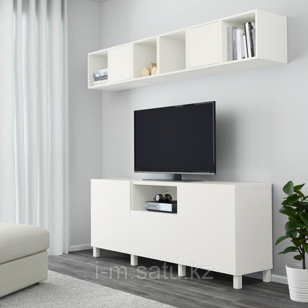 БЕСТО / ЭКЕТ Комбинация для ТВ, белый, 210x40x220 см