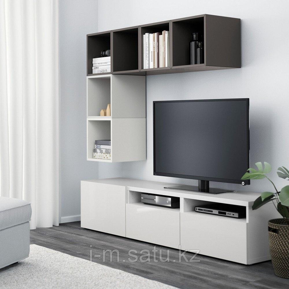 БЕСТО / ЭКЕТ Комбинация для ТВ, белый, глянцевый/белый, 180x40x170 см