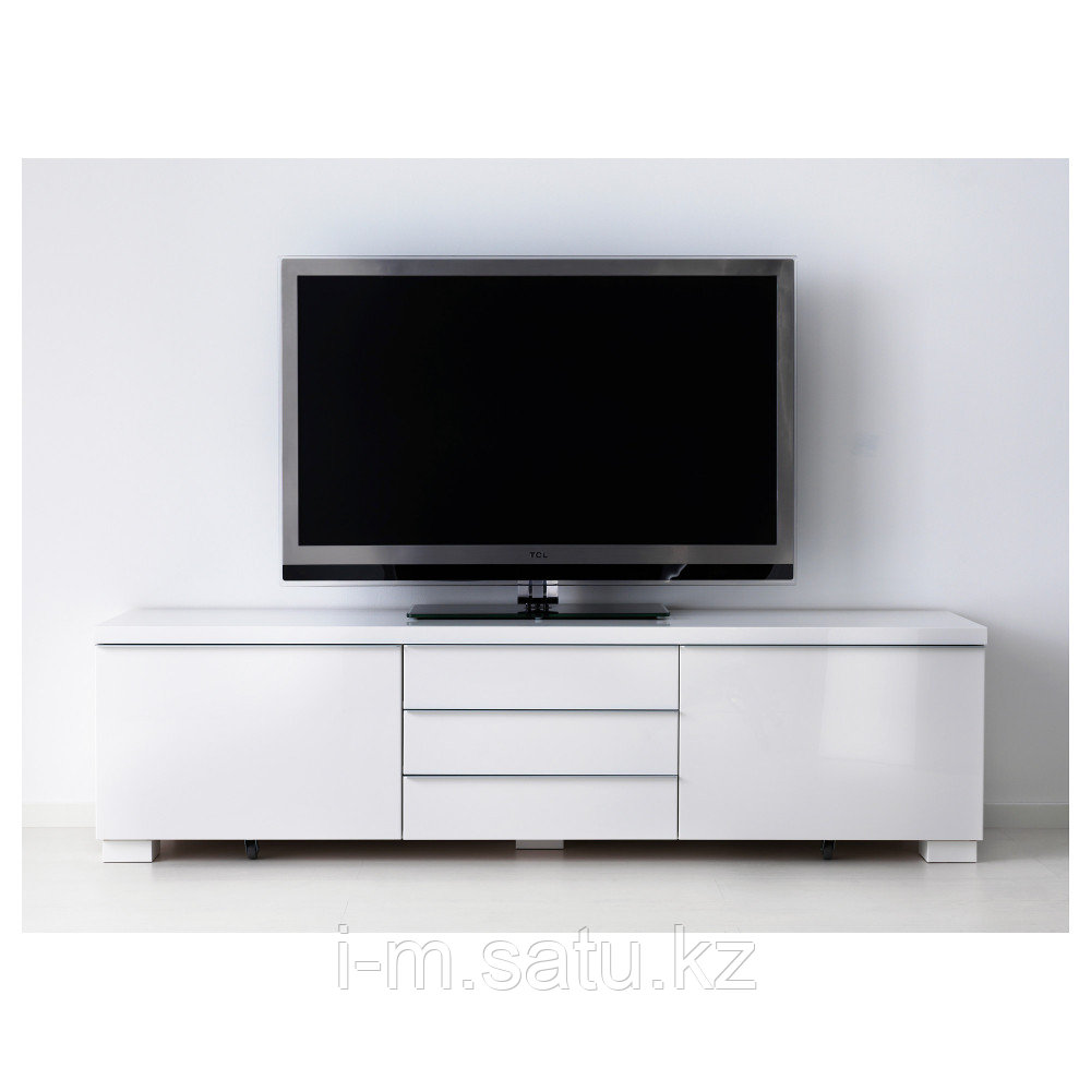 БЕСТО БУРС Тумба под ТВ, глянцевый белый, 180x41x49 см