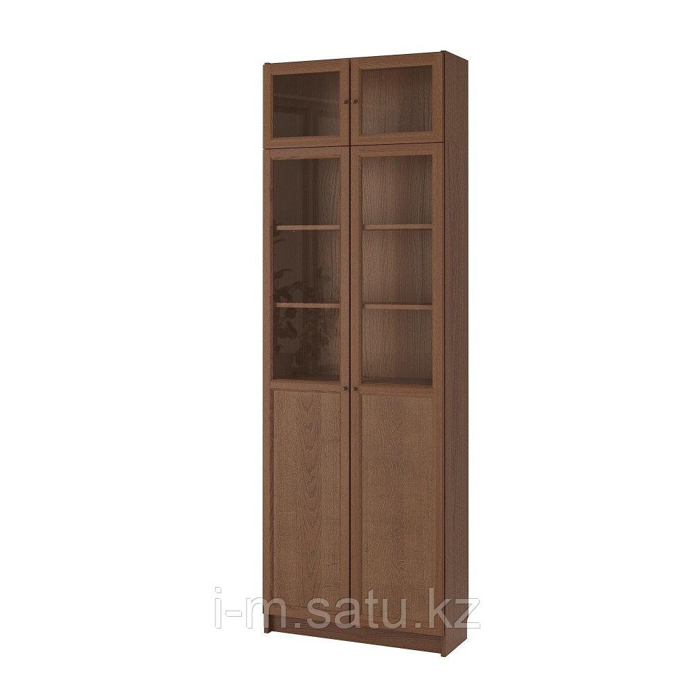 БИЛЛИ Стеллаж с верхними полками/дверьми, коричневый ясеневый шпон, 80x30x237 см