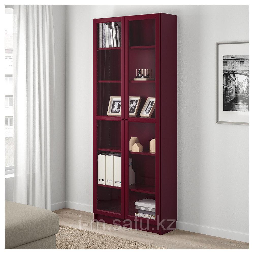 БИЛЛИ Шкаф книжный со стеклянными дверьми, темно-красный, 80x30x202 см