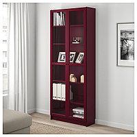 БИЛЛИ Шкаф книжный со стеклянными дверьми, темно-красный, 80x30x202 см, фото 1