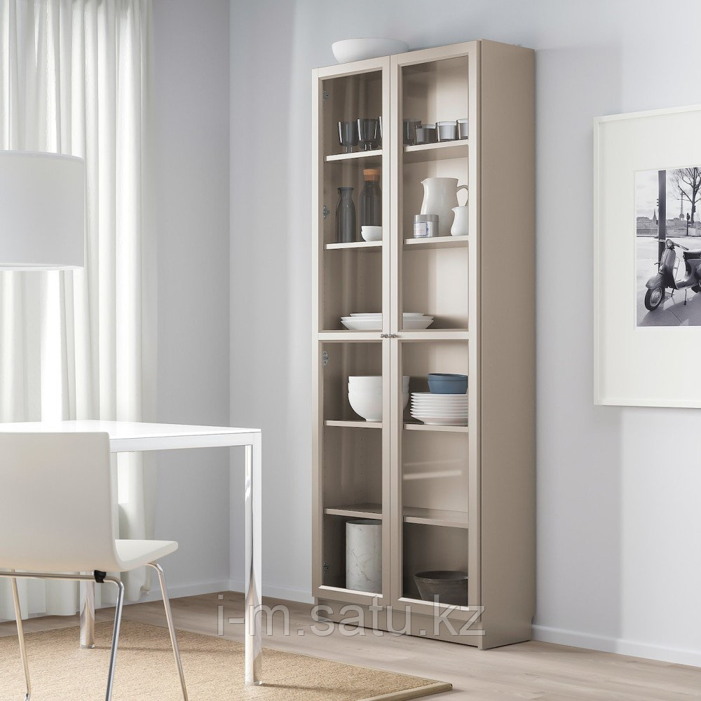БИЛЛИ Шкаф книжный со стеклянными дверьми, серый, эффект «металлик», 80x30x202 см