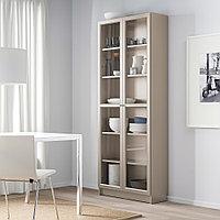 БИЛЛИ Шкаф книжный со стеклянными дверьми, серый, эффект «металлик», 80x30x202 см, фото 1