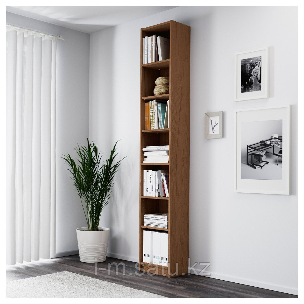 БИЛЛИ Стеллаж, коричневый ясеневый шпон, 40x28x237 см