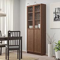 БИЛЛИ Стеллаж/панельные/стеклянные двери, коричневый, ясеневый шпон, 80x30x202 см, фото 1