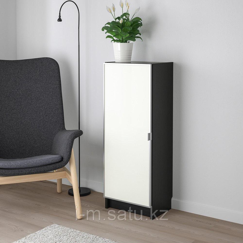 БИЛЛИ / МОРЛИДЕН Шкаф книжный со стеклянной дверью, черно-коричневый, стекло, 40x30x106 см