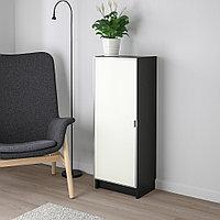 БИЛЛИ / МОРЛИДЕН Шкаф книжный со стеклянной дверью, черно-коричневый, стекло, 40x30x106 см, фото 1