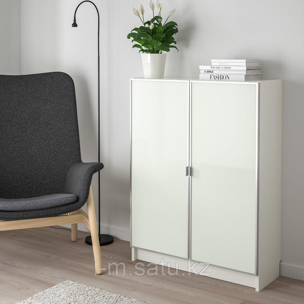 БИЛЛИ / МОРЛИДЕН Шкаф книжный со стеклянными дверьми, белый, стекло, 80x30x106 см