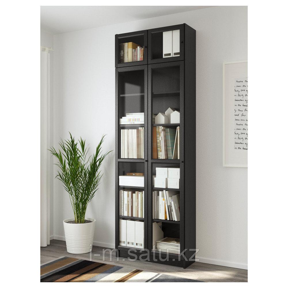 БИЛЛИ / ОКСБЕРГ Стеллаж, черно-коричневый, 80x30x237 см