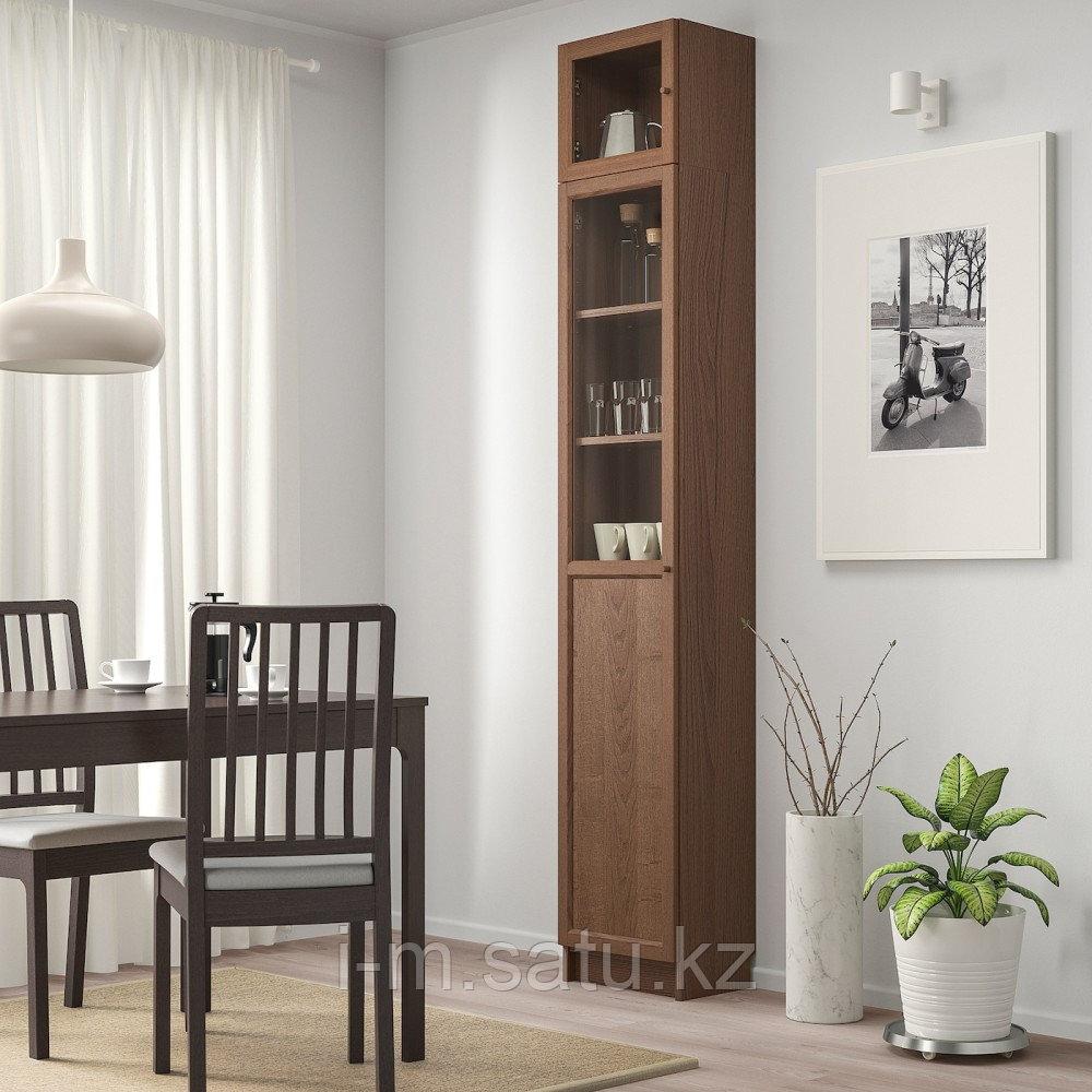 БИЛЛИ / ОКСБЕРГ Стеллаж с верхними полками/дверьми, коричневый ясеневый шпон, стекло, 40x30x237 см