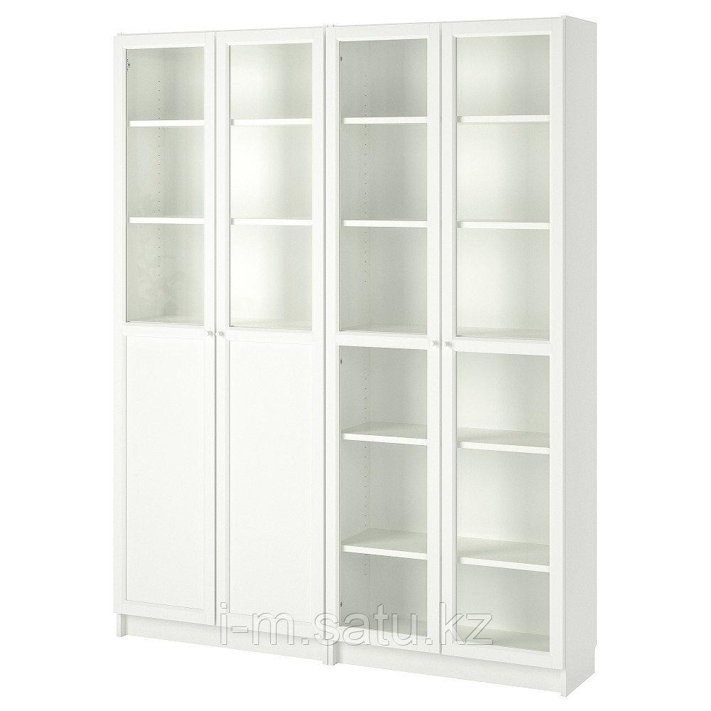 БИЛЛИ / ОКСБЕРГ Стеллаж/панельные/стеклянные двери, белый, стекло, 160x30x202 см